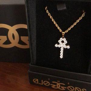 diamond cross with gold chain